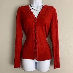 Tory Burch Red Merino Wool Cardigan Sweater L D1
